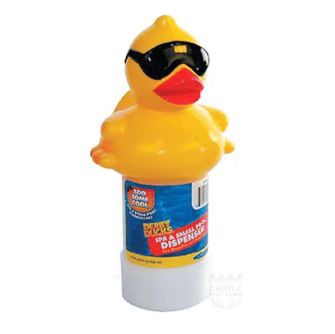 Derby Duck floating dispenser from Leicester Hot Tub Hire, Sales, Chemicals & Accessories